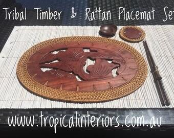 Sahara Timber & Rattan Placemat Set of 4