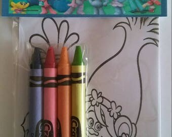 12 Sets of the Trolls Birthday Party Favors Coloring Pages and Crayon Sets