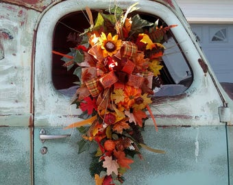 Fall Swag, Fall wreath, Autumn Wreath, Autumn Swag, Front Door Wreath, Gift