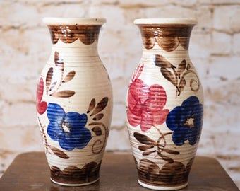 Pair of Vintage Austrian Pottery Vases
