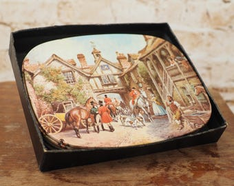 Set of Six Vintage Placemats with a Victorian Scene