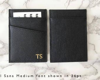 Personalised Monogrammed Women's Or Men's Card Holder in Black Saffiano Leather Slim Wallet