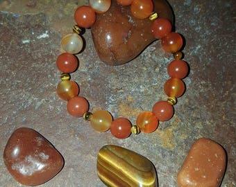 Carnelian, agate, tiger eye lower chakra bracelet