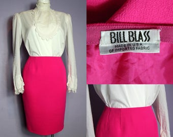 Sale /// Vintage BILL BLASS Made In USA Pink Wool Crepe Pencil Skirt Us 4 Uk 8