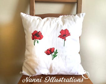 Cushion cover+Inner pillow with Poppy Watercolor Art