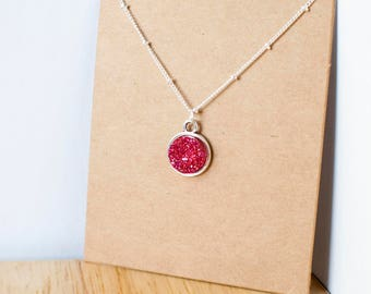 Red druzy necklace with silver chain and setting 15mm