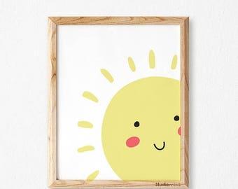 Happy Sun Studio Mini, Nursery Art, Digital Download Nursery Print, Kids Art Print, Yellow Nursery Decor, Kids Wall Art, Color Nursery Print