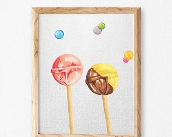 Nursery wall art lollipos marker, nursery decor, candy Print, lollipop nursery prints, nursery  print, print for nursery,sweet nursery, SMIN
