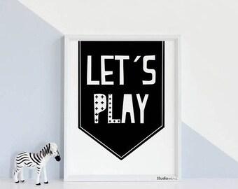 Monochrome Nursery Print, StudioMini, Nursery Wall Art, Instant Download Printable Nursery Art, Black White Kids Print, Playroom Decor, play