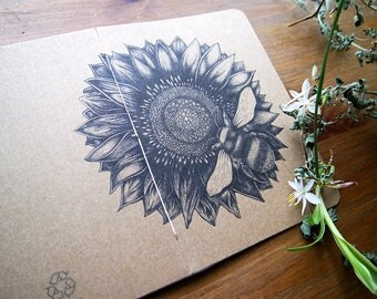 hand-bound recycled A6 notebook | sunflower & bee handmade notebook | recycled notebook |  eco friendly notebook