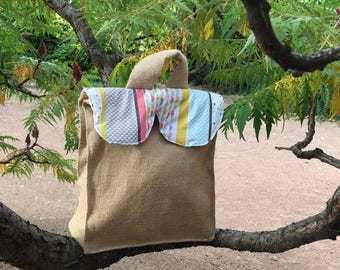 Lunch, picnic, lunch bag, lunch in Burlap and cotton coated
