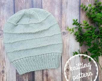 The RIDGE Beanie / knitting pattern / knit hat / knit beanie pattern / slouchy beanie / knit pattern / women's fashion