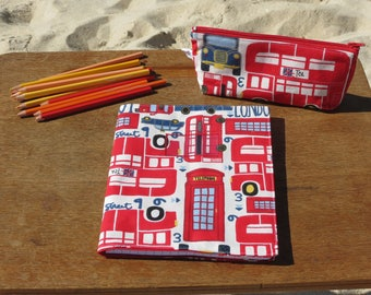 """Back to school"" notebook cover small cotton printed English bus motives and phone"