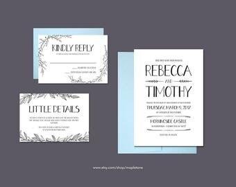 Minimalist Wedding Invite | Minimalist Invite | Foliage Invitation | Simple Invitation | Simple Invite | Foliage Invite | Modern Invitation