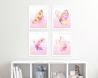 Pink butterflies wall art, nursery prints, 8x10, girls bedroom, nature prints, purple butterflies, printable