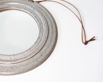 handmade ceramic mirror with leather cord, circle mirror, mirror, round mirror
