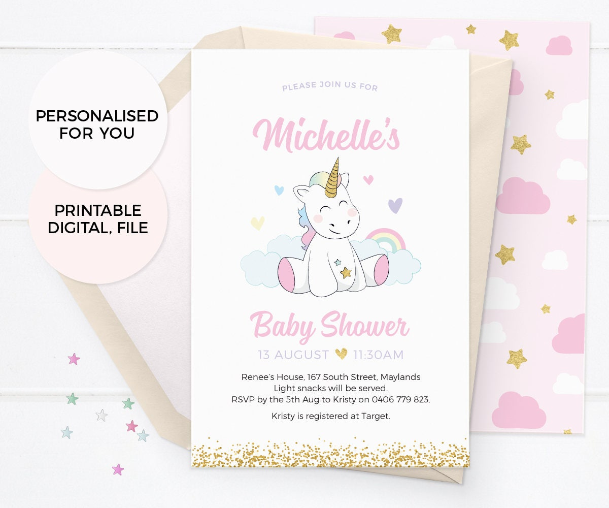 Unicorn baby shower invitations, Girl baby shower invitations ...