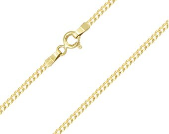 """10K Solid Yellow Gold Cuban Necklace Chain 2.0mm 16-24"""" - Round Curb Link"""