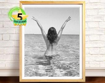Beach Art Photography, Black and White, Modern Coastal Photo Wall Art Decor, Beach Print, Beach Decor, Printable Art, Woman in Ocean Photo