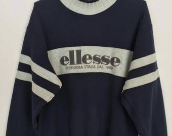 Rare!! Vintage Ellesse Perugia Italia Spellout Embroidery Striped Pullover Jumper Sweatshirt