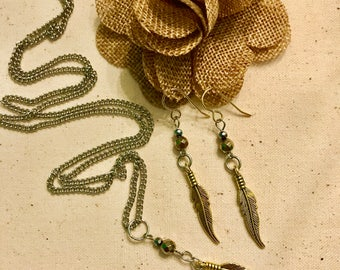 Silver and Gold Feather Necklace set