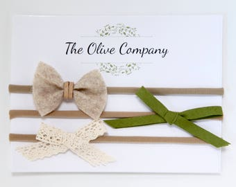The Esme - A collection of three handmade bows on nylon headbands or metal clips