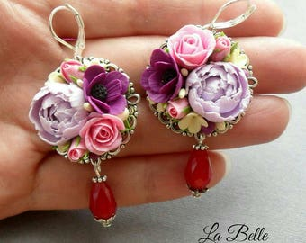Polymer clay earrings with flowers.