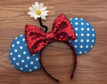 Vintage Minnie Mouse inspired ears, blue pokadot Minnie ears, white polkadot Minnie ears