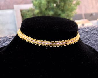 Gold and Purple Choker, Upcycled Choker, Vintage Lace Choker, Gold Choker, Choker Necklace