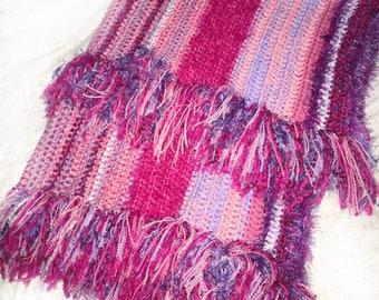 Pink and Purple Crocheted Blanket, Crochet Blanket, Striped Blanket, Bohemian Unicorn, Baby Blanket, Baby Girl, Afghan, Tassel Blanket