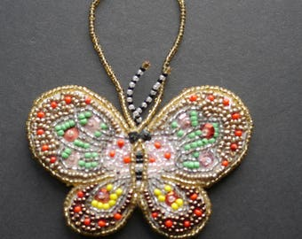 Pretty beadwork seed bead butterfly decoration