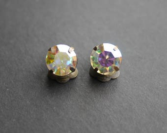 Rhinestone aurora borealis clip on earrings