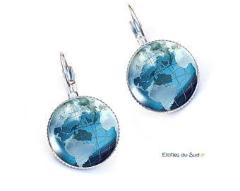 Earrings blue world map, travel, planet, resin cabochons