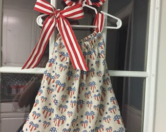 Patriotic Girls Dress (18-24 months) and Matching Bow
