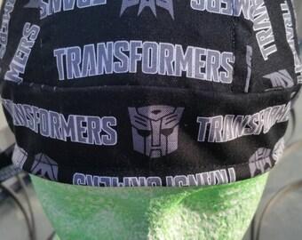 Transformers Skull Cap Helmet Lined Du Rag hat chemo cap surgical hat motorcycle biker head wrap Chef Hat Do Rag