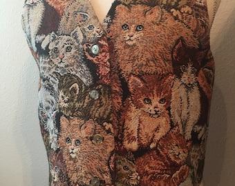 Vintage Upholstery Style Cat(s) Vest
