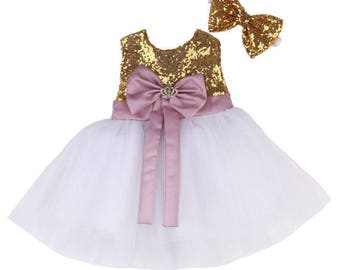 Pink And Gold First Birthday Outfit, Baby Christening Dress, Glitz Pageant Dress, Baby Party Dress, Baby Pageant Dress, Baby Baptism Dress