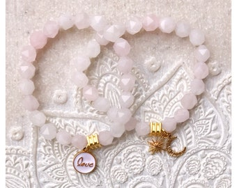 Rose Quartz Star Faceted bracelet and charms.