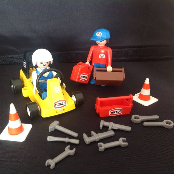 Vintage Playmobil geobra texaco racing set mechanic figures 1970's