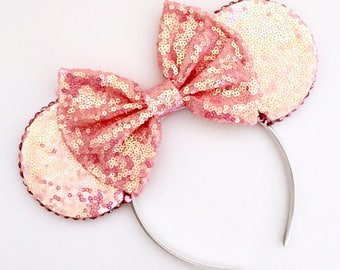 The Full Sequin (Pink Mermaid) - Handmade Sequin Mouse Ears Headband