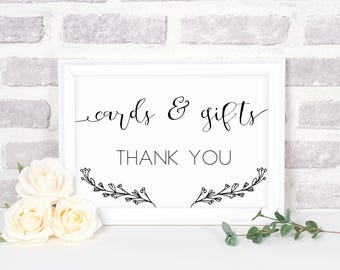 Cards and Gifts Sign, Wedding Decorations, Wedding Printables, Wedding Signs, Wedding Table Signs, Wedding Decor, Modern, Classic