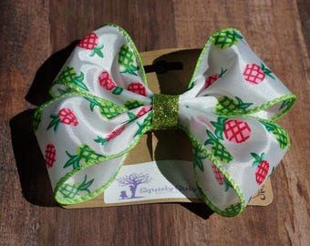 Pink and Green Pineapple Bow