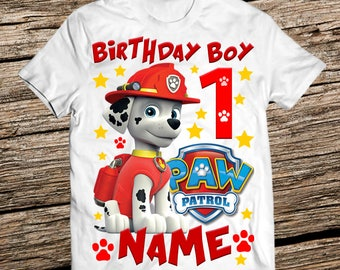 Paw patrol Marshall birthday shirt, Personalized paw patrol birthday shirt,Birthday Boy shirt, Birthday shirts boy, Paw patrol birthday boy