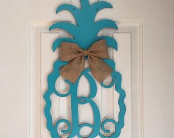 Monogram Pineapple Door Hanger - Summer Door Hanger - Pineapple Initial Wreath - Beach Door Hanger - Pineapple Wreath - Beach Door Decor