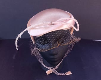 Vintage 1950's Pink Hat with Feather and Veil