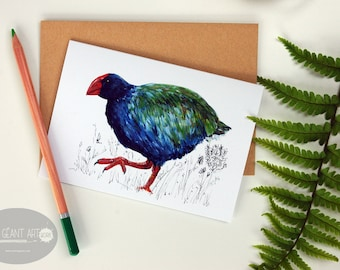 Takahe folded card from the New Zealand native birds series by Emilie Geant, from original watercolor painting