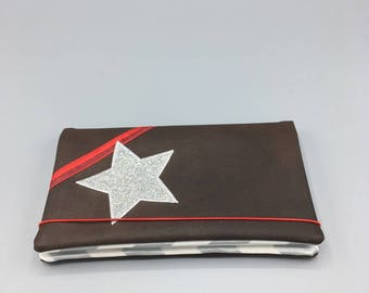 Gray faux leather checkbook