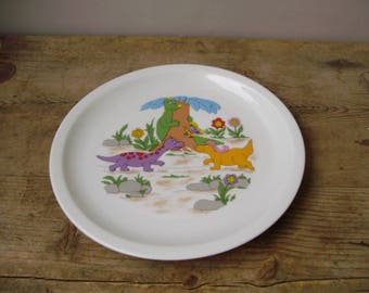 Vintage Hungarian porcelain,decor plate,children plate w.dinosaur decor,stamped