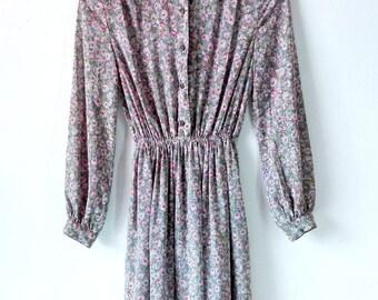 Vintage Purple Floral 1990s dress/ belted dress/ vintage women/ summer dress/ vintage dress/ 90s dress