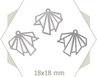 8 silver charms broken leaf BA132
